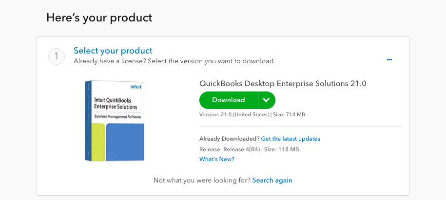 QuickBooks enterprise 2021 Download window