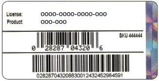 sticker on the packaging that contains the product and license