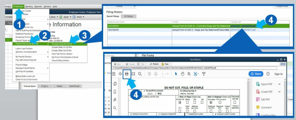 how to reprint w2 in quickbooks 2017