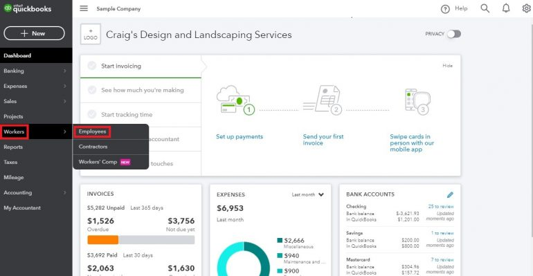 paycheck stubs with quickbooks online